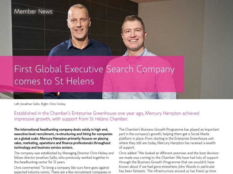 First Global Executive Search Company comes to St Helens